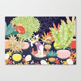 Setaria and goldfish (remake) Canvas Print