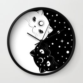 Cartoon black and white cats, yin yang sign Wall Clock