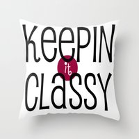 classy Throw Pillows featuring Classy by Bunhugger Design