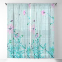 Sweet Flowers on Wood 03 Sheer Curtain