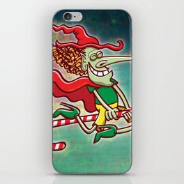 Halloween witch flying on a Christmas candy cane iPhone Skin