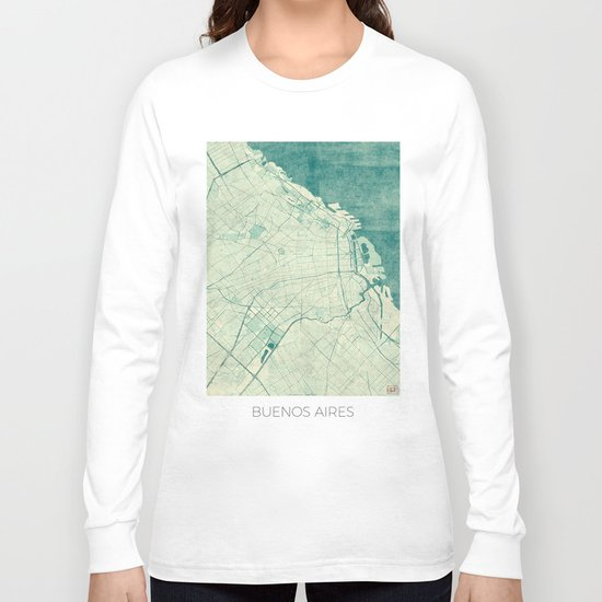 Buenos Aires Map Blue Vintage Long Sleeve T-shirt