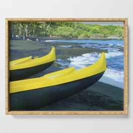 Outriggers on Hawaii's Big Island Black Sand Beach Serving Tray