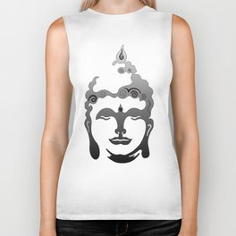 Buddha Head grey black white background Biker Tank