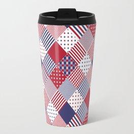 Red White & Blue Patchwork Quilt Travel Mug