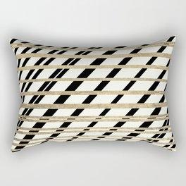 Geometric ivory black gold modern stripes pattern Rectangular Pillow