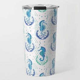 Turquoise Blue Seahorses, Seamless Vector Travel Mug