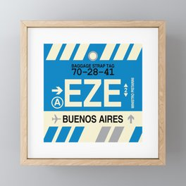 EZE Buenos Aires • Airport Code and Vintage Baggage Tag Design Framed Mini Art Print