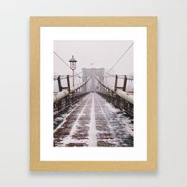 Snowy Brooklyn Bridge Framed Art Print
