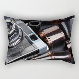 Vintage rangefinder camera and rolls color negative film Rectangular Pillow