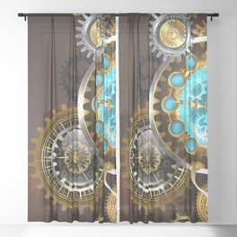 Unusual Clock with Gears ( Steampunk ) Sheer Curtain