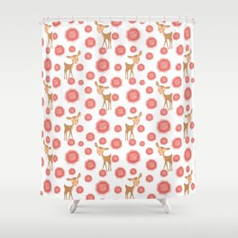 Little pretty baby fawns deer and dusty pink blooming roses seamless vintage retro white pattern Shower Curtain