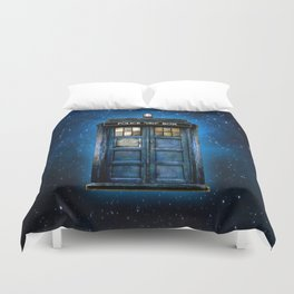 Beautiful tardis with yellow stained glass windows Duvet Cover