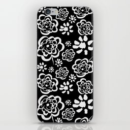 Flowers on Black iPhone Skin