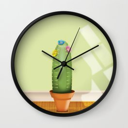 Cactus plant flowering. Wall Clock