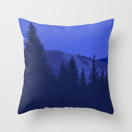 Conifers and Night Sky Throw Pillow