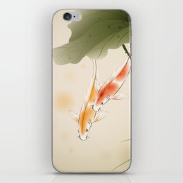 Koi fishes in lotus pond iPhone Skin