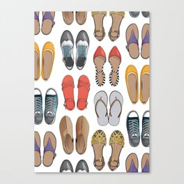 Hard choice // shoes on white background Canvas Print