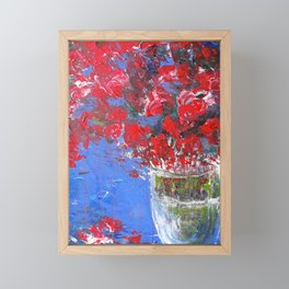 Red flowers vase Framed Mini Art Print