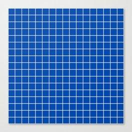 Cobalt blue - blue color -  White Lines Grid Pattern Canvas Print
