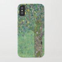 gustav klimt iPhone & iPod Cases featuring Gustav Klimt - Rosebushes under the Trees by TilenHrovatic