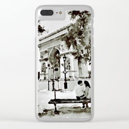 The Arc de Triomphe Paris Black and White Clear iPhone Case