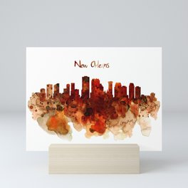 New Orleans watercolor skyline Mini Art Print