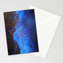 Night Ocean Glowing Waves - Bioluminescent Plankton Stationery Cards