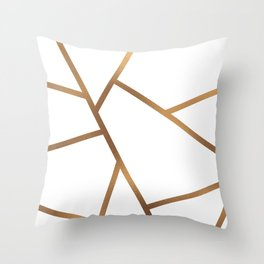 White and Gold Fragments - Geometric Design Throw Pillow