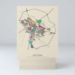 Colorful City Maps: Astana, Kazakhstan Mini Art Print