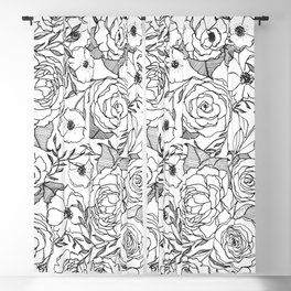 Garden Party Black and White Floral Pattern Blackout Curtain