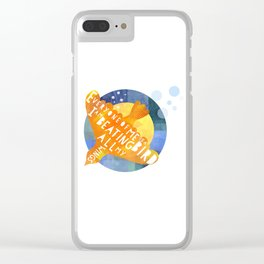 Everyone of me is a Bird Poem in Orange and Blue Clear iPhone Case