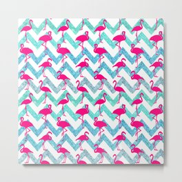 Go Flamingo! Tropical Pink Neon Flamingos Teal Glitter Chevron Metal Print