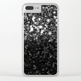 Black & Silver Glitter Gradient Clear iPhone Case