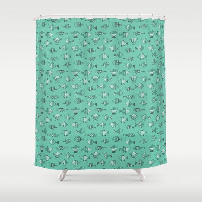 Geometric fish Shower Curtain