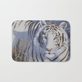 White Tiger with Blue Eyes Bath Mat