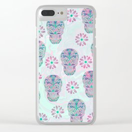 Marbled Sugar Skulls Clear iPhone Case