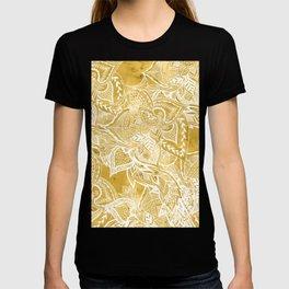 Modern lemon curry watercolor floral hand drawn pattern T-shirt