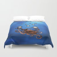 octopus Duvet Covers featuring Octopus by Anna Shell