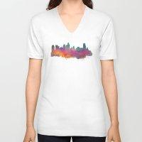 minneapolis V-neck T-shirts featuring Minneapolis Skyline  by jbjart