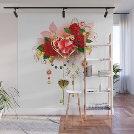 Ruby Heart with Roses Wall Mural