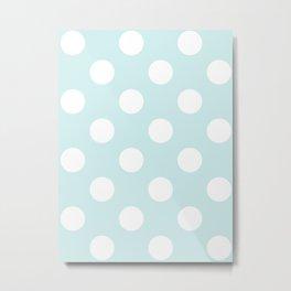 Large Polka Dots - White on Light Cyan Metal Print