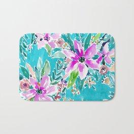 TROPICAL BENEVOLENCE Aqua Floral Bath Mat