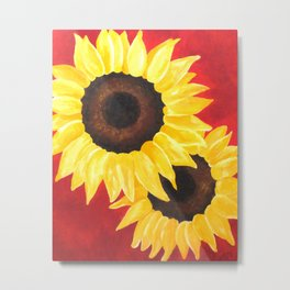 2 Sunflowers on Red Metal Print