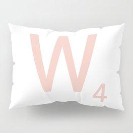 Pink Scrabble Letter W - Scrabble Tile Art and Accessories Pillow Sham