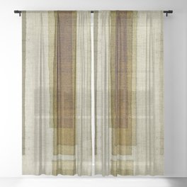 """Burlap Texture Greenery Columns"" Sheer Curtain"