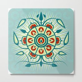 Blue Floral Abstract Design Metal Print