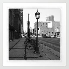 B&W City with Bikes Art Print