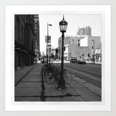 B&W City with Bikes Art Print