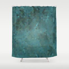 Abstract mosaic green landscape Shower Curtain